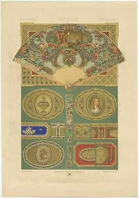 Pl. 88 Antique Print of decorative art in the 18th Century by Rachinet (1869)