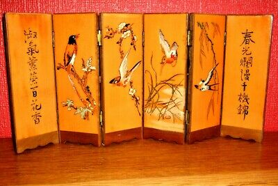 Miniature Oriental Screen, Lacquered, hand decorated, Stunning, 6 Panel, Vintage