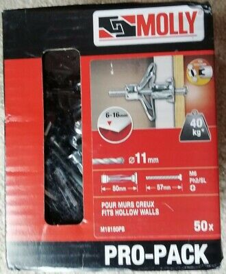 Black /& Decker Molly M14105 5 Pack 40mm Eye Fixing with M4 Plasterboard Fixing