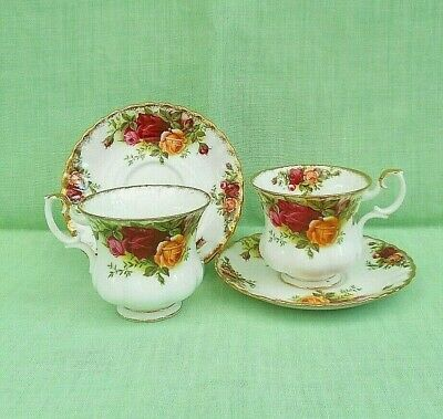 Royal Albert Old Country Roses bone china 2 demi-tasse coffee cups & saucers