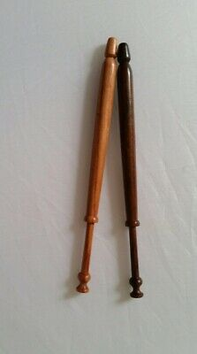 Pair of vintage wooden lace bobbins 1980s