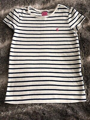 Girls Joules T Shirt Age 9-10 Years Cream & Navy Stripe Short Sleeve Rabbit