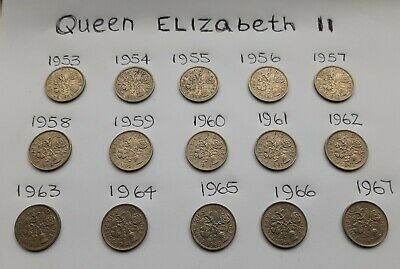 QUEEN ELIZABETH, SIXPENCE PIECES,  from 1953 Through to 1967.