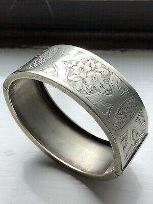 Antique VICTORIAN Silver Plate Wide Engraved Bangle Gorgeous Aesthetic Movement