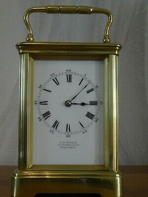 Drocourt antique carriage clock w/key and case - c. 1895/1900 - restored 07/19