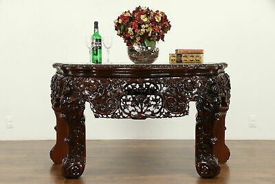 Chinese Vintage Carved Rosewood & Marble Console Table #31710