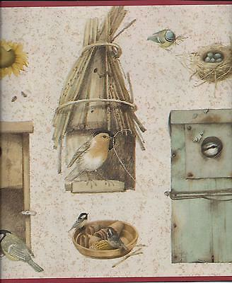 Gold /& Green Birdhouses with Birds Wallpaper Border EX80960