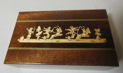 Vintage Inlaid Italian Trinket Jewelry Box Sorrento Ware CHERUBS Putti Chariots