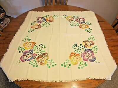 """Vintage Pansy Painted 34"""" Square Fringed Tablecloth-Card Table Size"""