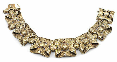 Vtg ART DECO German Modernist THEODOR FAHRNER Sterling Silver GOLD Gilt Bracelet