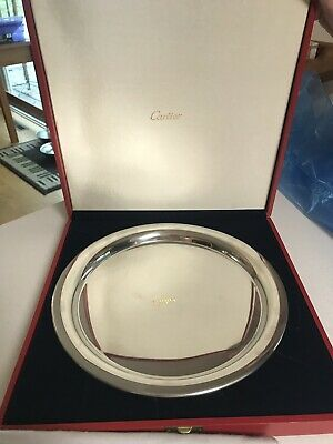 """Cartier Pewter Silver Plate Serving Tray 11"""" Diameter with Original Cover & Box"""