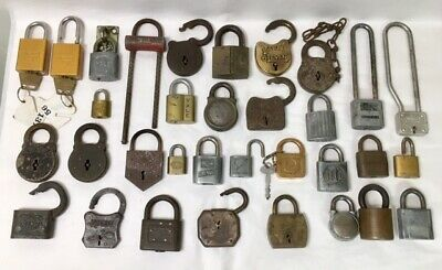 Vintage Padlock Lot of 33 Yale Eagle Corbin American Master Ironsides Star Brass