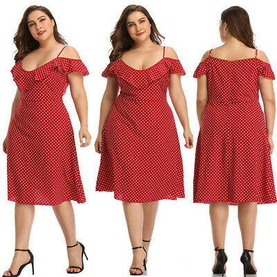 Women Plus Size Polka Dot V-Neck Midi dress Sling Cold Shoulder Ruffled Hem Red