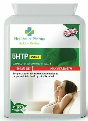 5HTP 200mg 90 Capsules 5-htp Depression Anxiety Serotonin Supplement Made in UK