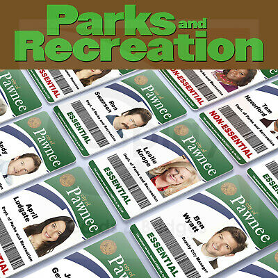 Parks And Recreation Employee ID Badge, Leslie Knope, Ron Swanson, Andy Dwyer