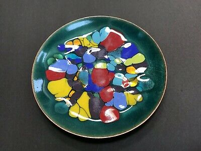 """Vintage 50s 60s Multi-color Enamel Copper Dish Plate 6 3/8"""" Signed Win Ng SF"""