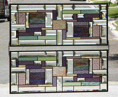 ••We Come as Two's ••   Set of 2 Beveled Stained Glass Window Panels •