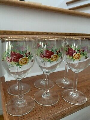 (6) Royal Albert Old Country Roses Wine Glasses Excellent Condition