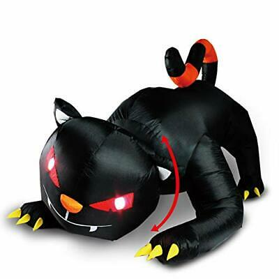 Black Cat Halloween Decoration Lighted Inflatable Blow Up - 6 Ft Long