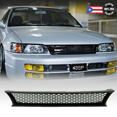 For 1993-1997 Toyota Corolla DX ABS Black Mesh Front Bumper Hood Grill Grille