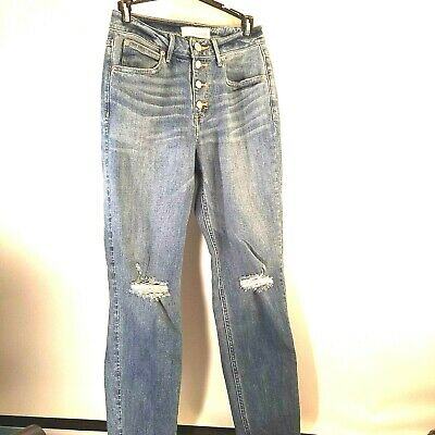 Maurices Junior Girls Jeans Size 26 Button Fly Blue Denim Distressed Destroyed