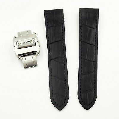 20Mm Black Alligator-Embossed Calf Leather Watch Strap For Santos De Cartier