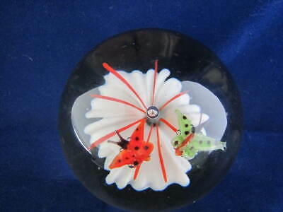 Vintage Quality Art Glass- Butterfly and Flower Glass Paperweight