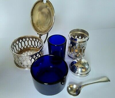 Silver plated EPNS mustard pot & solid silver spoon with matching pepper pot.