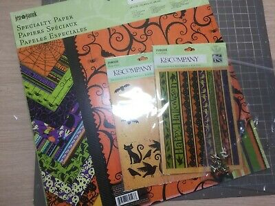 Clearout Halloween 12 X 12 Scrapbook Papers K And Company Rub Ons Brads