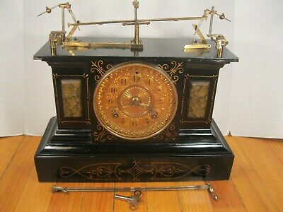 Rare One of a Kind Antique Ansonia Animated Mechanical Iron Mantel Clock