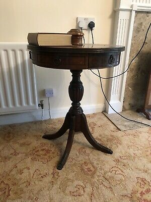 Antique Mahogany Round Drum Table 2 Drawers