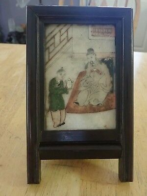 Antique Asian Chinese/Japanese Hand-painted On Slab Of Jade RARE Desk Screen