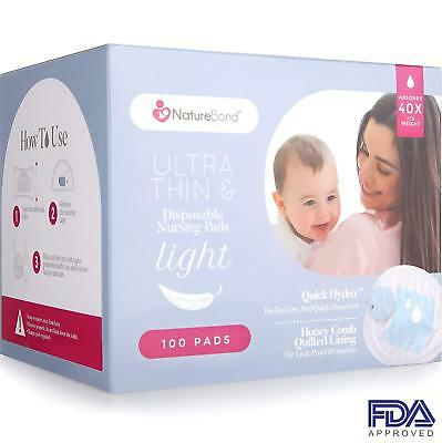Disposable Nursing Breast Pads 100 Pcs.Ultra Thin,Light,Contoured and Highly Abs