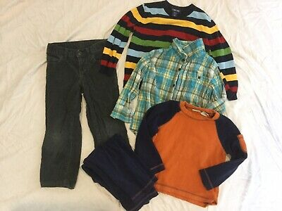 Boys Lot Mixed 5 5T 5/6 Sweater Corduroy Lands End Flannel Plaid