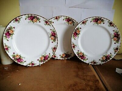 """Royal Albert Old Country Roses 10.5"""" Dinner Plates X 3"""