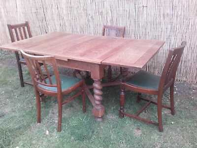 Vintage Solid oak extending Barley twist dining table chairs for upcycle refurb
