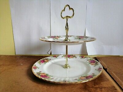 Royal Albert OLD COUNTRY ROSES large  2 tier cake plate