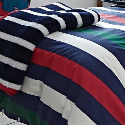 Joules Single Bed Fleece Throw All Sports Stripe One Size 140 x 180