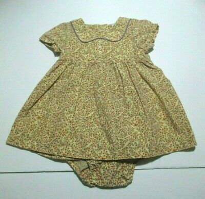 Infant Girls Baby Gap Coral Purple & Yellow Floral Piped Dress Set Size 6-12 Mon