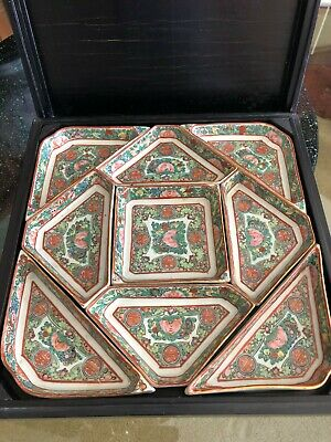 Antique Chinese Famille Rose Porcelain Divided Compartment Dishes and Wood Box