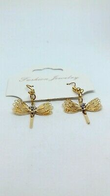 ZX49 CASUAL BOHO NEW STYLE CONTEMPORARY DRAGONFLY STUDS EARRINGS w CRYSTALS