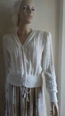 Womens 1940s Pale Cream Cotton Blend Hand Knitted Lace Cardigan