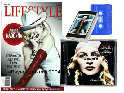 MADONNA Lifestyle UK Magazine + Madame X Blue Cassette + HMV UK Exclusive Cd