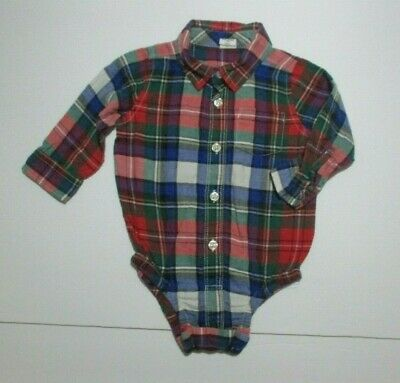 Boys Baby Gap Blue Red Green Plaid Brushed Flannel Button Down Shirt 6-12 Months