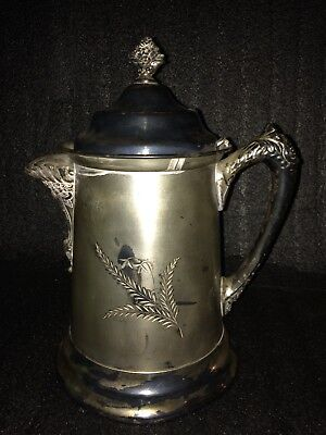 "Mid 19th Century Antique Middletown Plate Co LARGE 12"" Silver Pitcher/Stein"