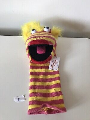 The Puppet Company Red & Yellow Stripe Sock Hand Puppet Plush Soft Toy Teddy Tag
