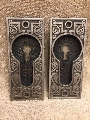 Pr Antique Fancy Cast Iron East Lake Victorian Pocket Door Plates Escutcheons