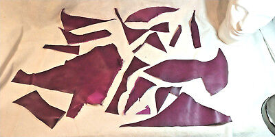 Selection of Cherry coloured Leather Off-cuts for Arts & Crafts 140 g