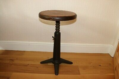 Industrial Cast Iron Adjustable Stool Very Good Condition