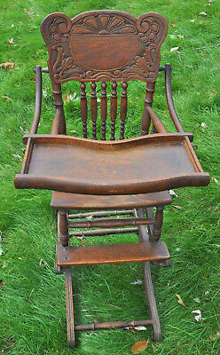 Lovely Antique Victorian Wood Convertible High Chair Rocker Cane Seat